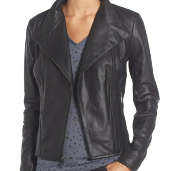 Nwt Andrew Marc Ny Felix Black Leather Moto Jacket   Nwt by Marc New York